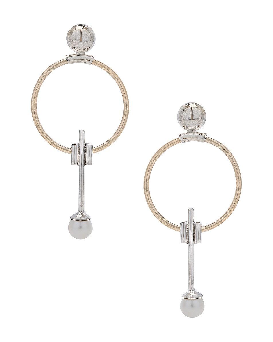 Image 1 of Wassonfine Swinging Pearl Earrings in 14 KT Gold