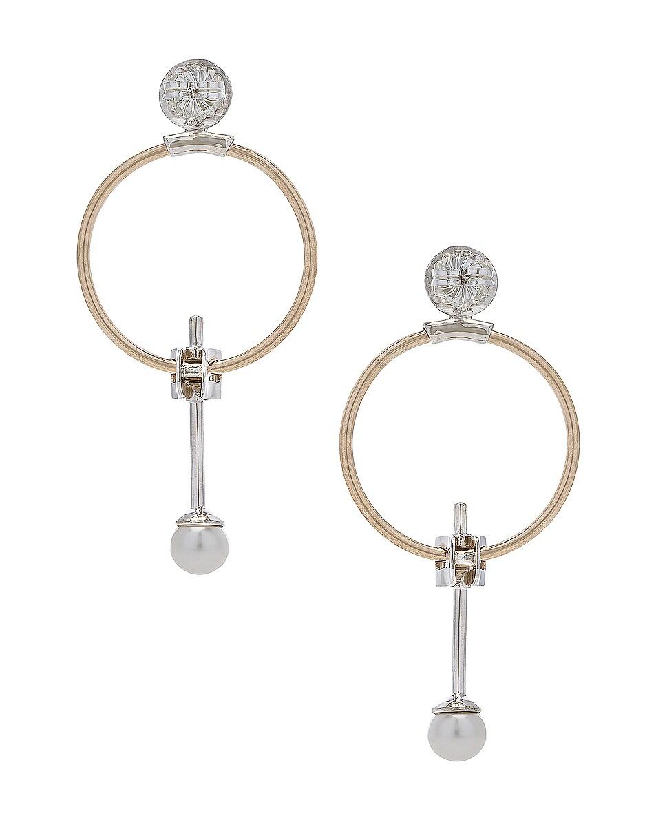 Image 4 of Wassonfine Swinging Pearl Earrings in 14 KT Gold