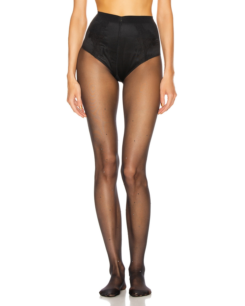 Image 1 of Wolford Crystal Affair Tights in Black & Jet Hematite