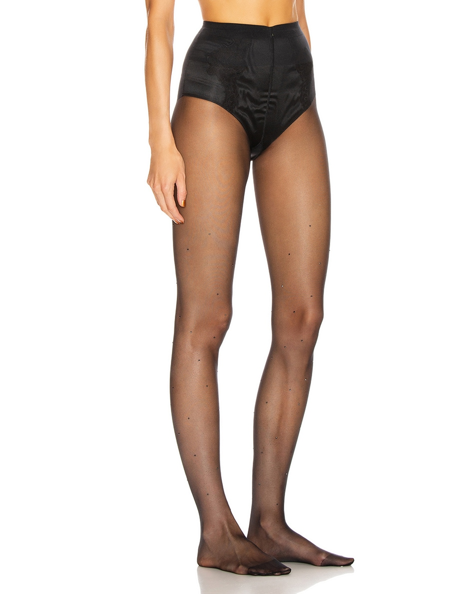 Image 2 of Wolford Crystal Affair Tights in Black & Jet Hematite