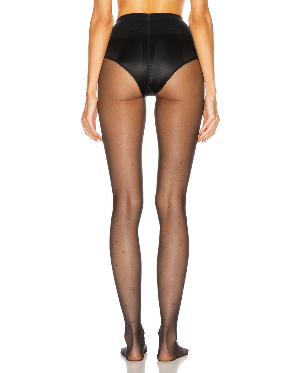 Image 3 of Wolford Crystal Affair Tights in Black & Jet Hematite