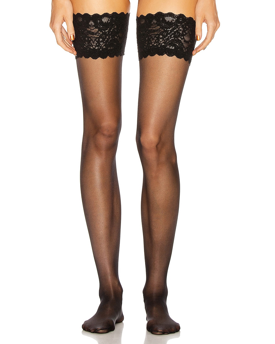 Image 1 of Wolford Satin Touch 20 Stay Up Tights in Black