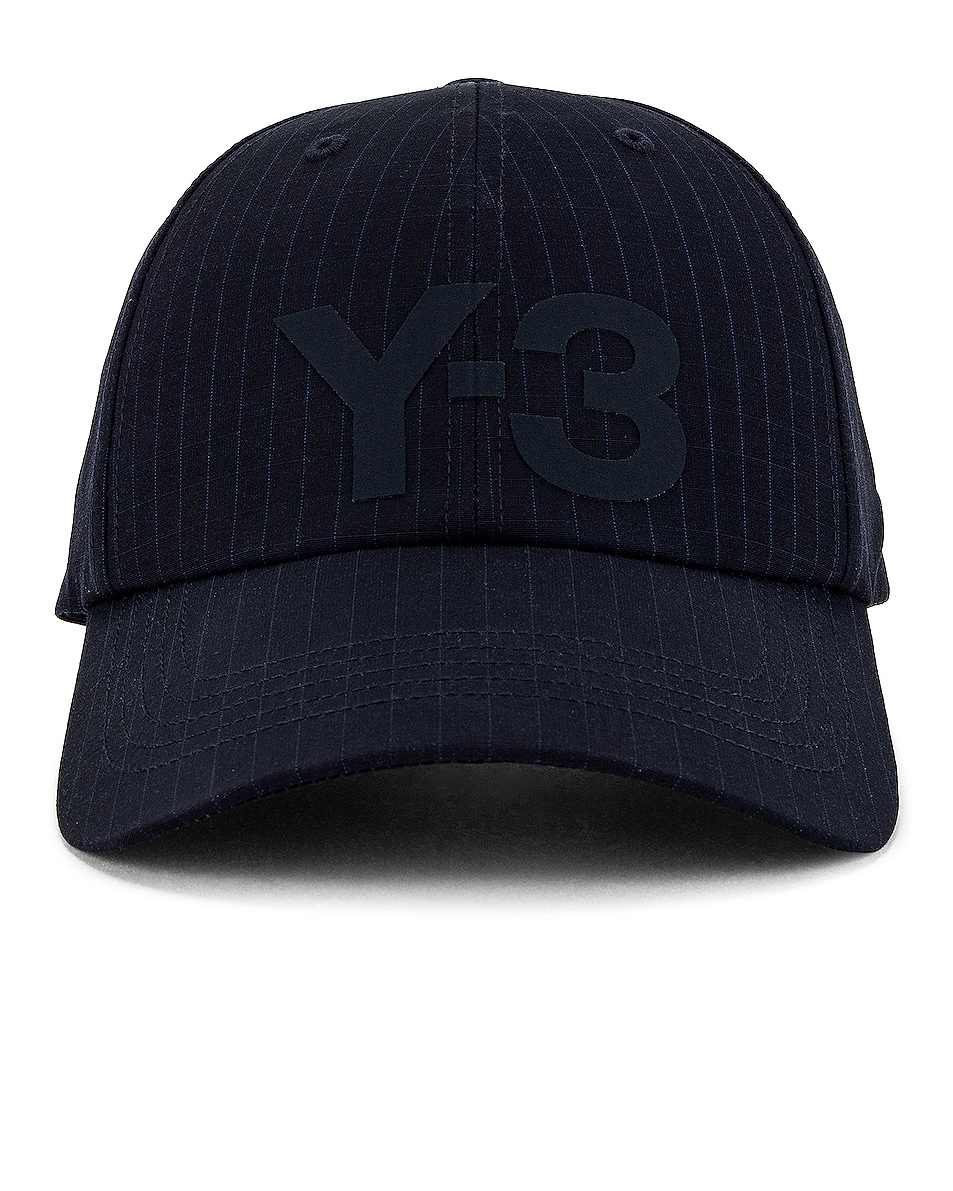 Image 1 of Y-3 Yohji Yamamoto Ripstop Logo Cap in Legend Ink