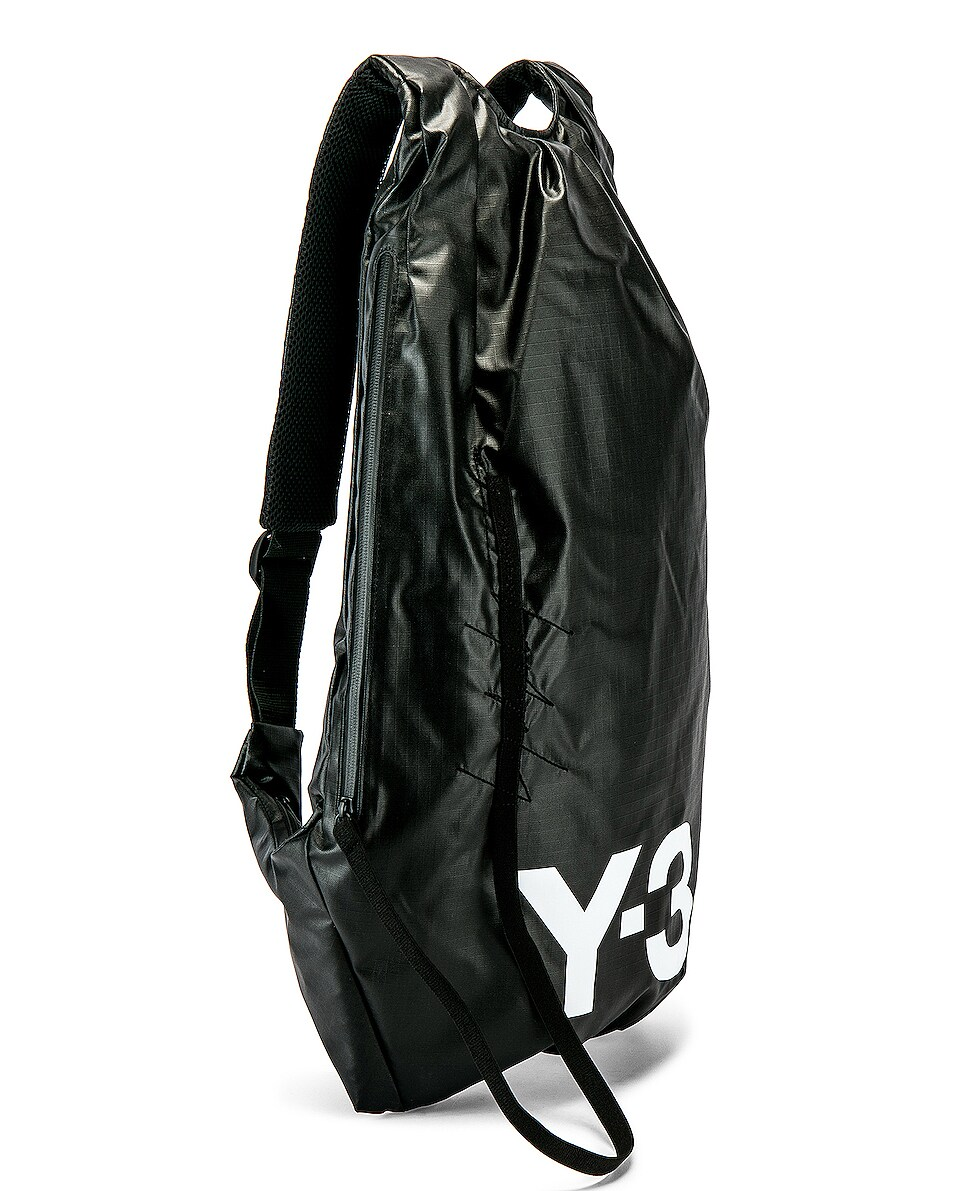 Image 3 of Y-3 Yohji Yamamoto Logo Backpack in Black & White