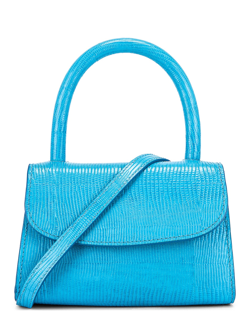 Image 1 of BY FAR Mini Lizard Embossed Bag in Electric Blue