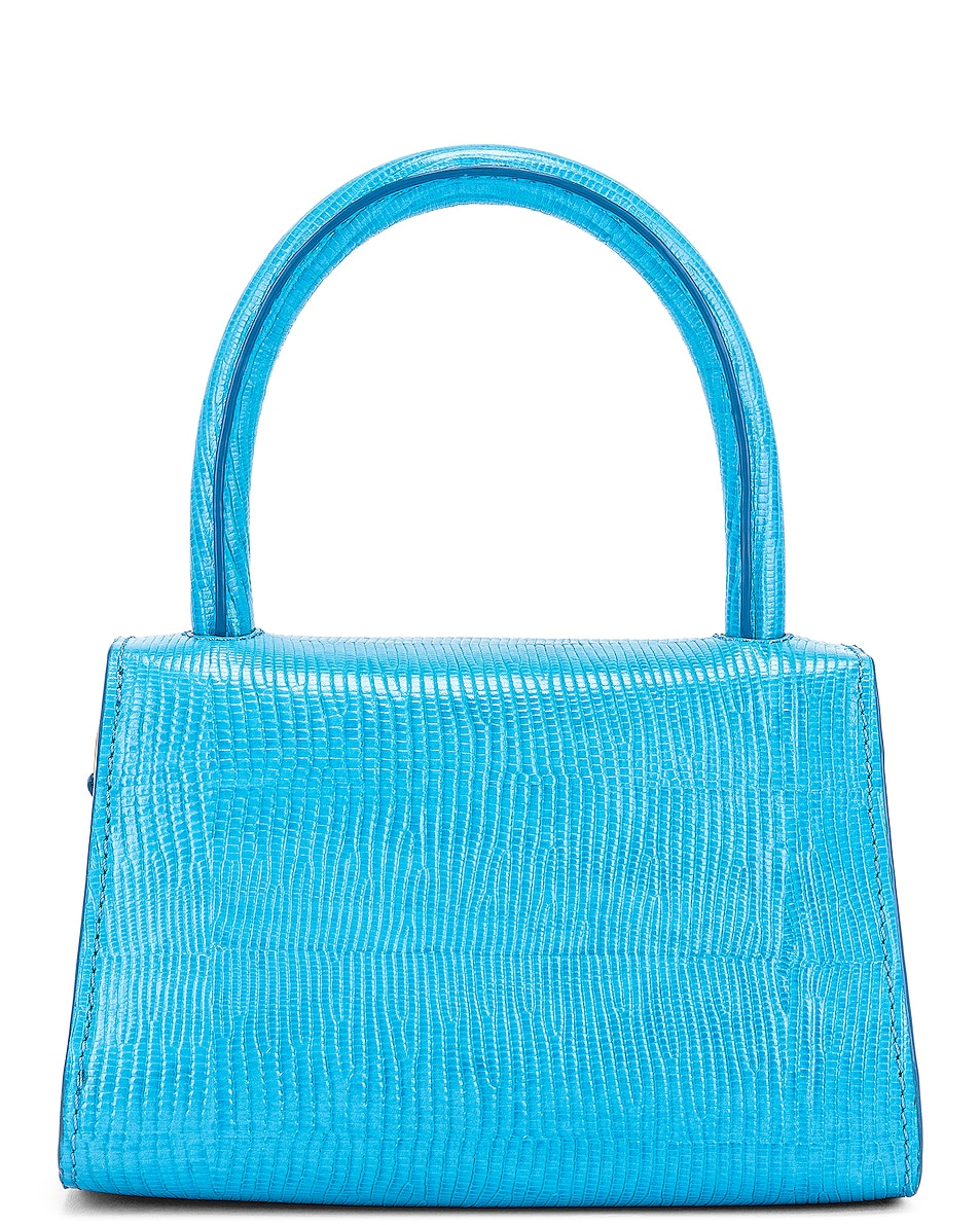 Image 3 of BY FAR Mini Lizard Embossed Bag in Electric Blue