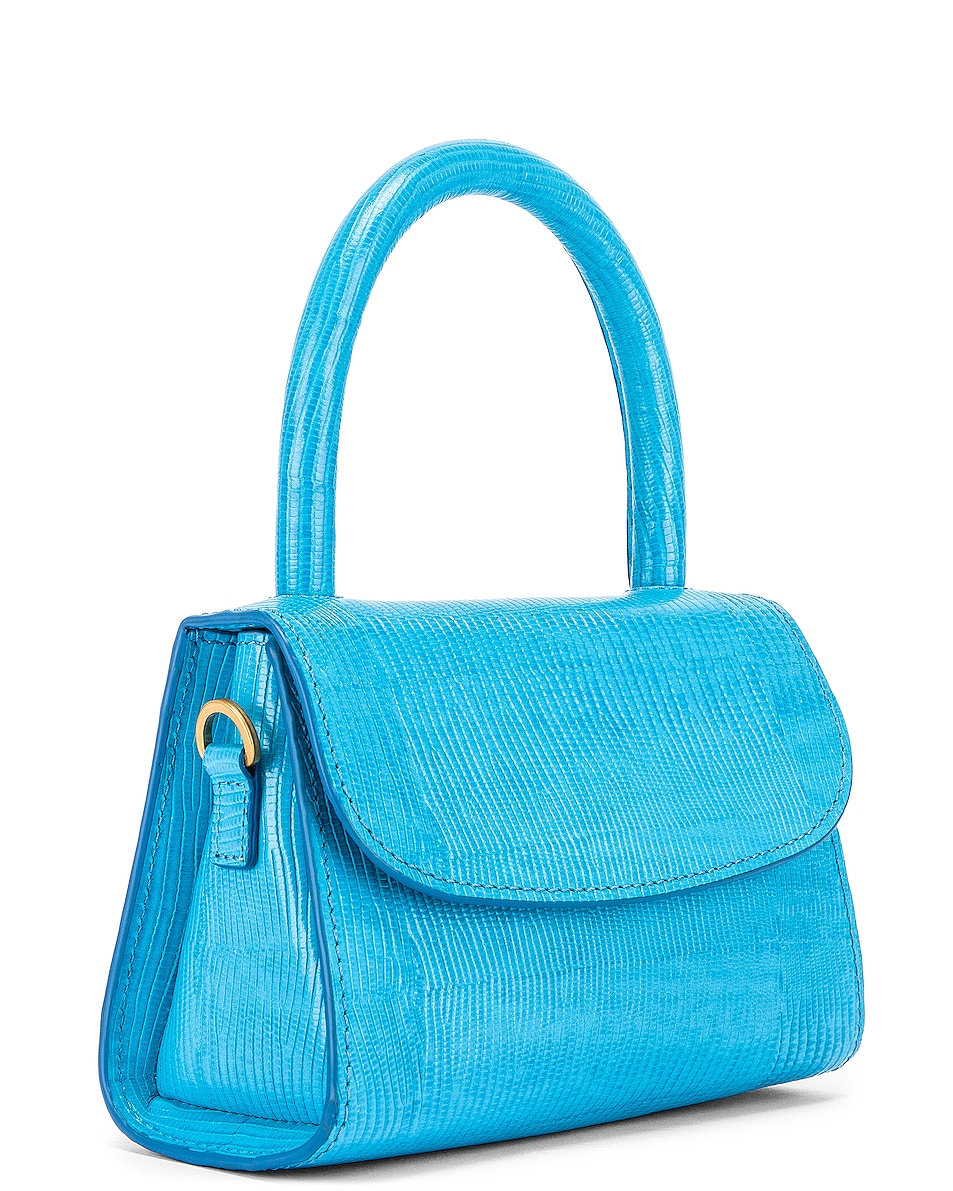 Image 4 of BY FAR Mini Lizard Embossed Bag in Electric Blue