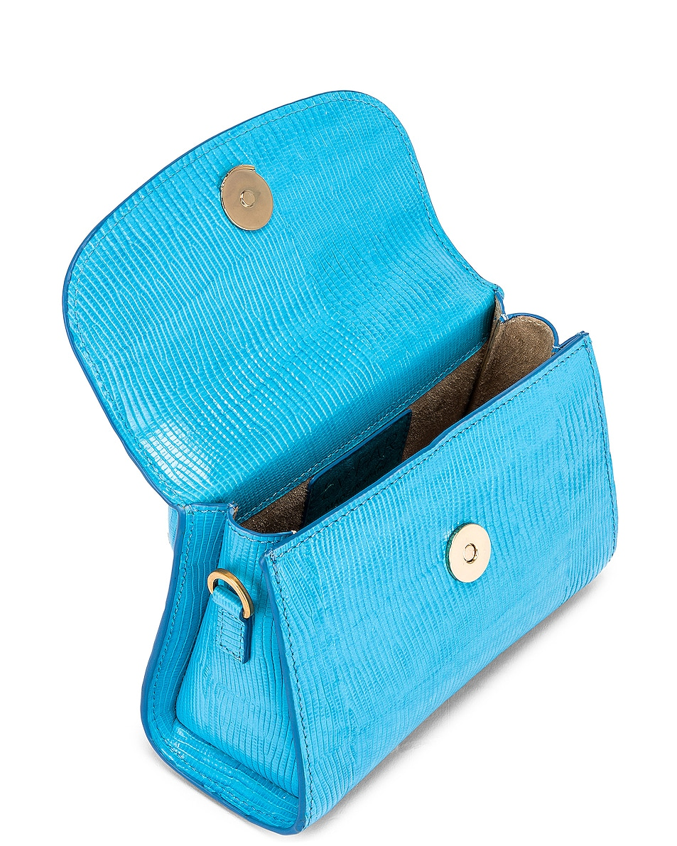 Image 5 of BY FAR Mini Lizard Embossed Bag in Electric Blue