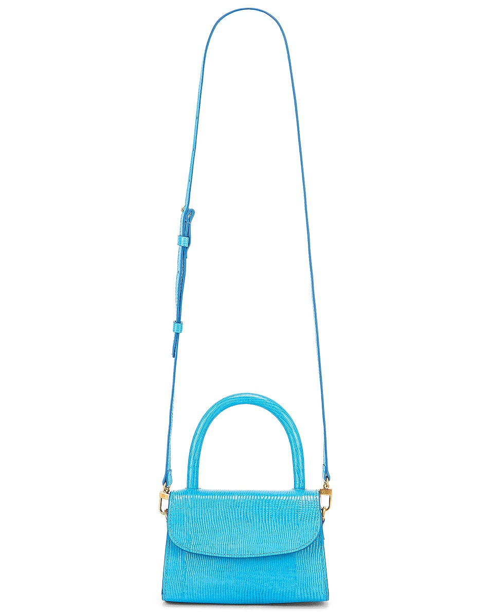 Image 6 of BY FAR Mini Lizard Embossed Bag in Electric Blue