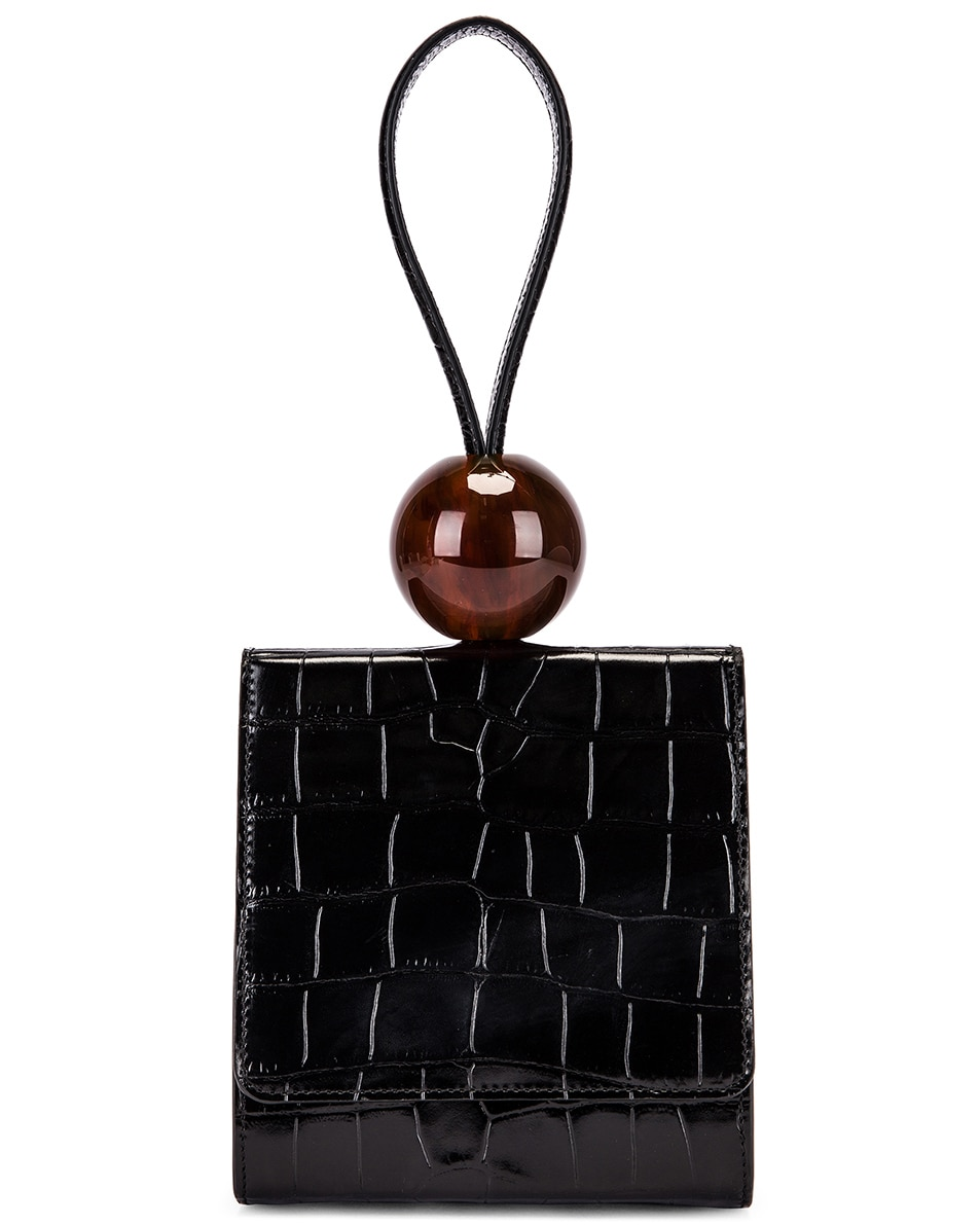 Image 1 of BY FAR Ball Croco Embossed Bag in Black