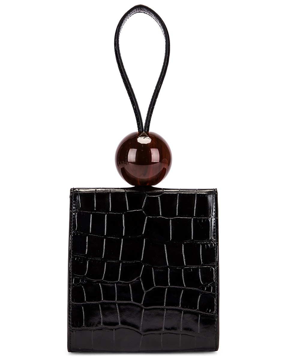 Image 3 of BY FAR Ball Croco Embossed Bag in Black