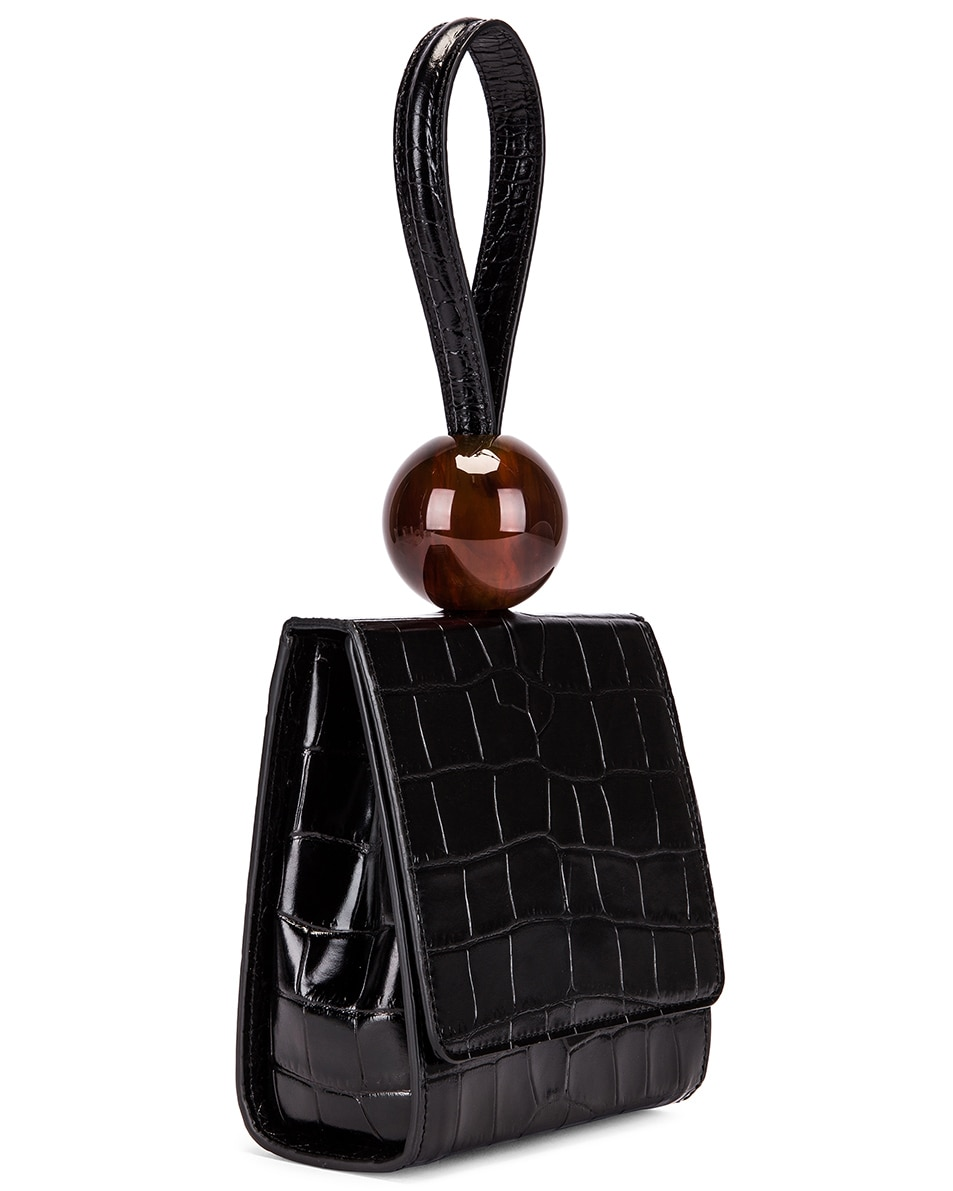 Image 4 of BY FAR Ball Croco Embossed Bag in Black