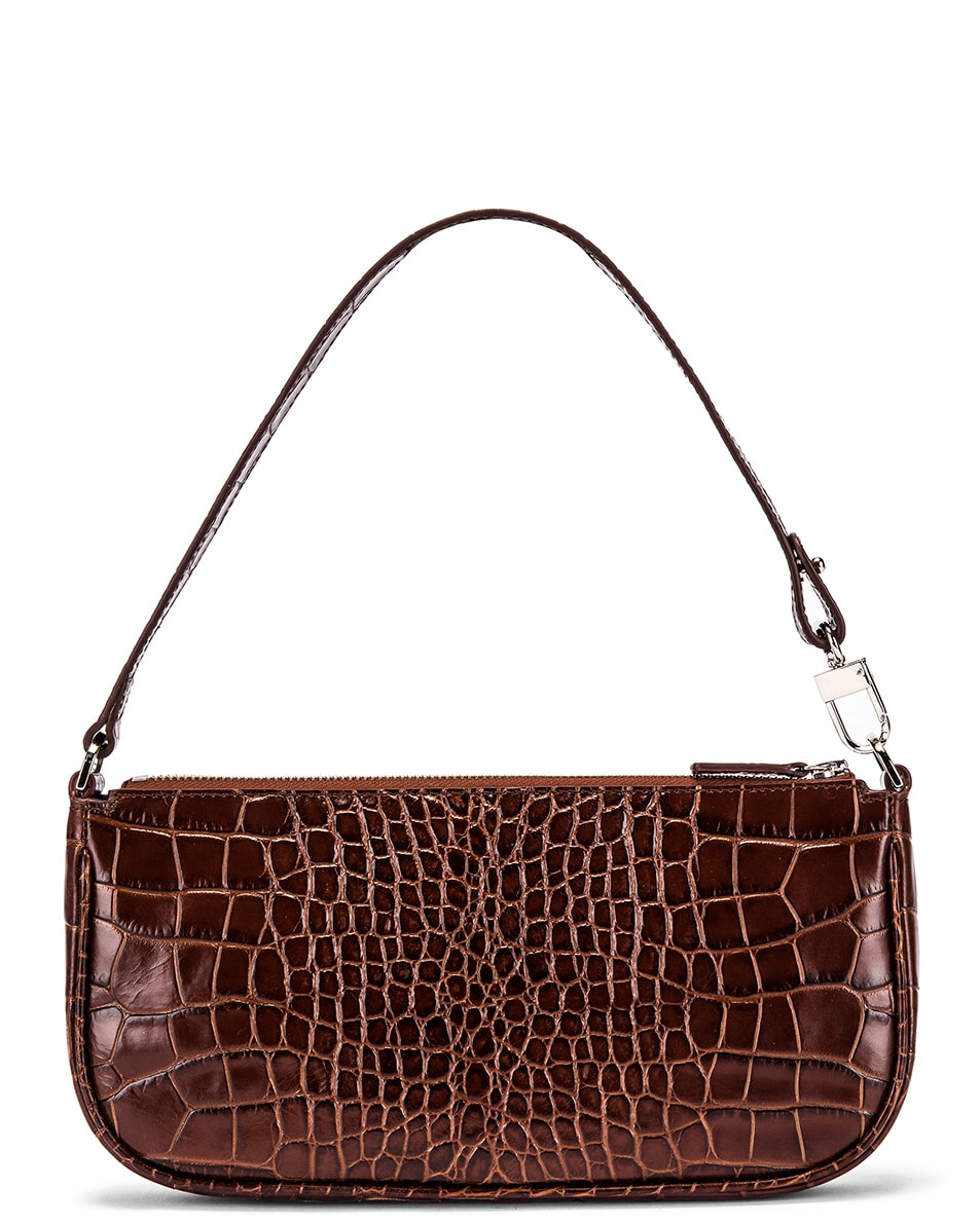 Image 1 of By Far Rachel Croco Embossed Leather Bag in Nutella