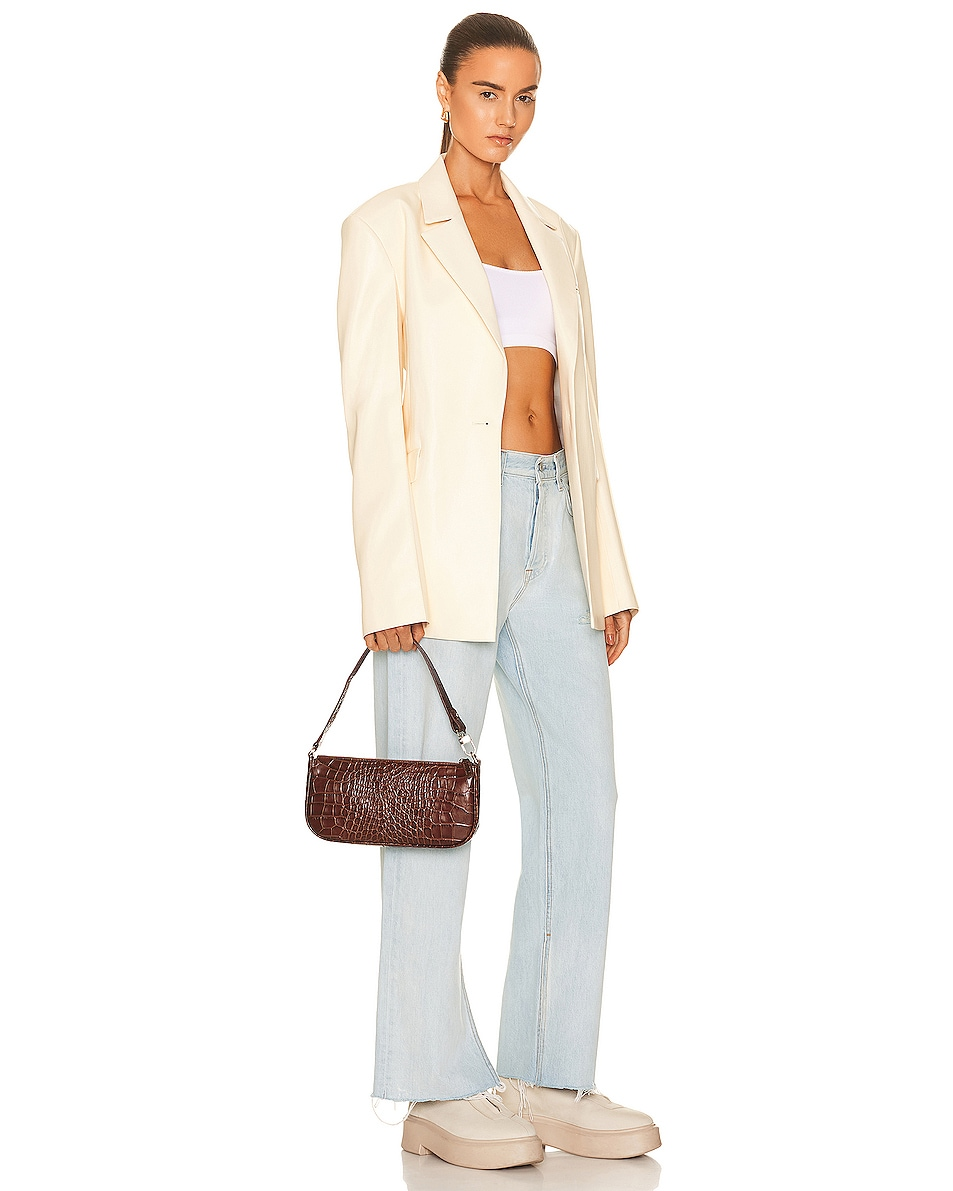 Image 2 of By Far Rachel Croco Embossed Leather Bag in Nutella