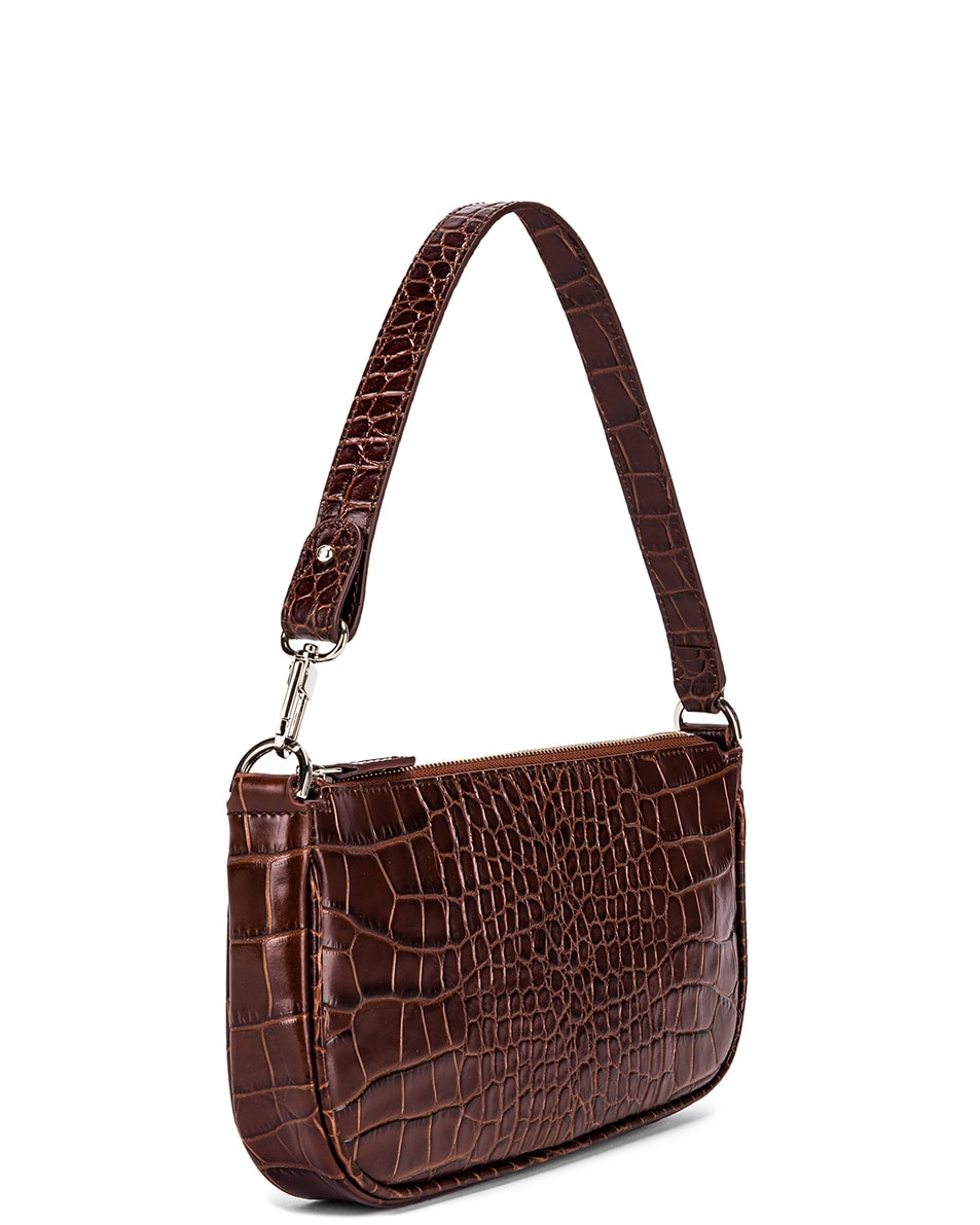 Image 3 of By Far Rachel Croco Embossed Leather Bag in Nutella