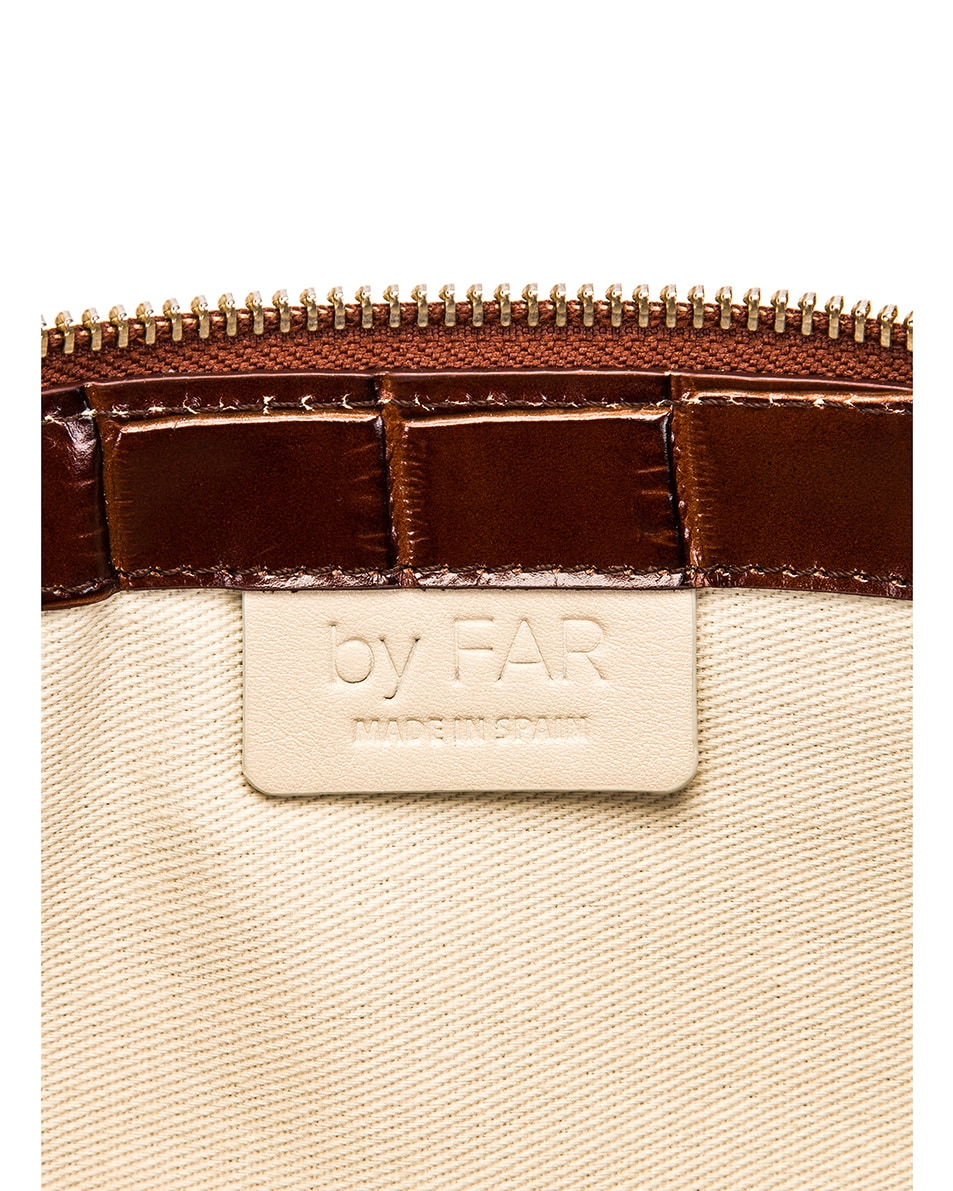 Image 5 of By Far Rachel Croco Embossed Leather Bag in Nutella