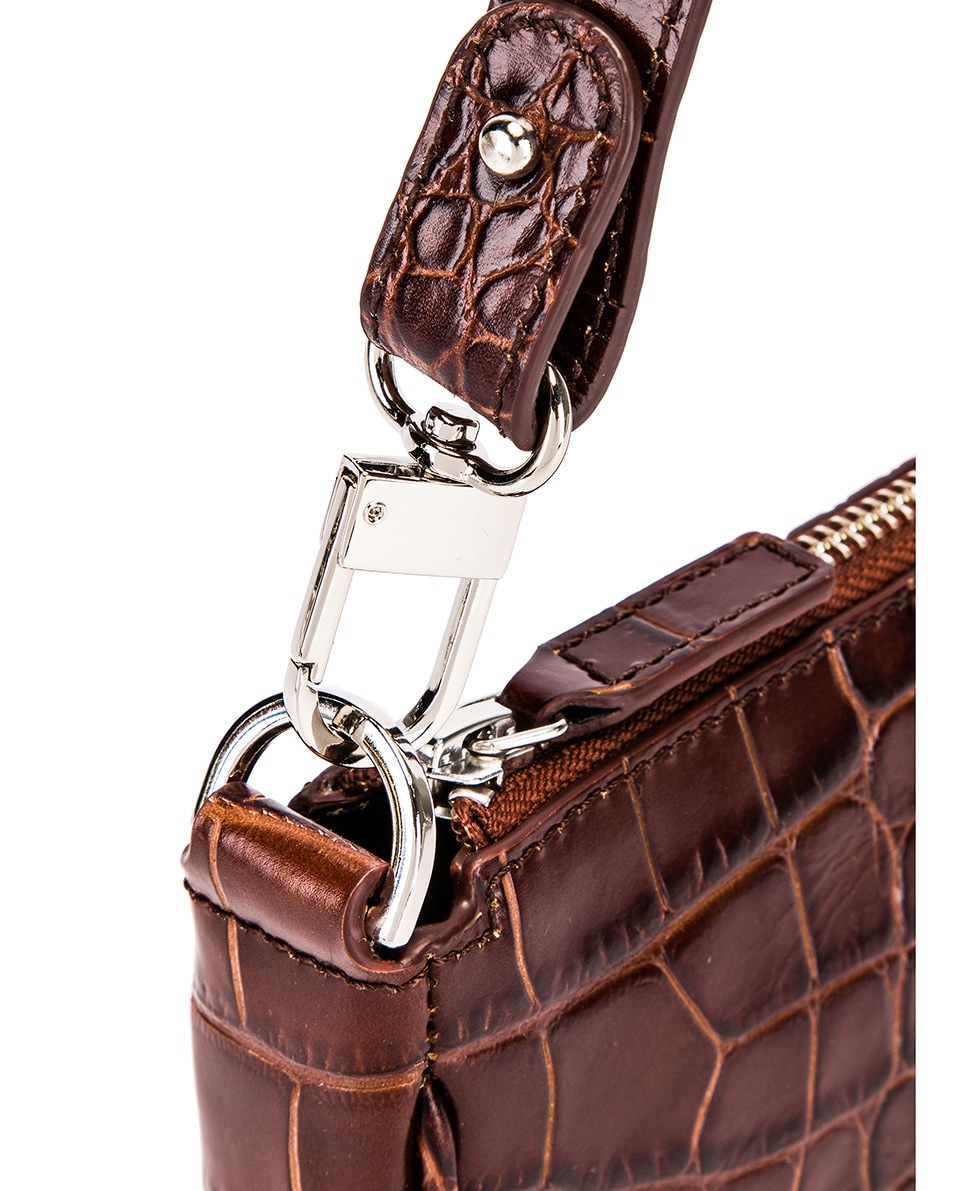 Image 6 of By Far Rachel Croco Embossed Leather Bag in Nutella