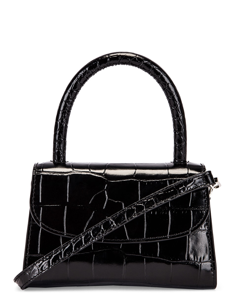 Image 1 of BY FAR Mini Croco Embossed Leather Bag in Black