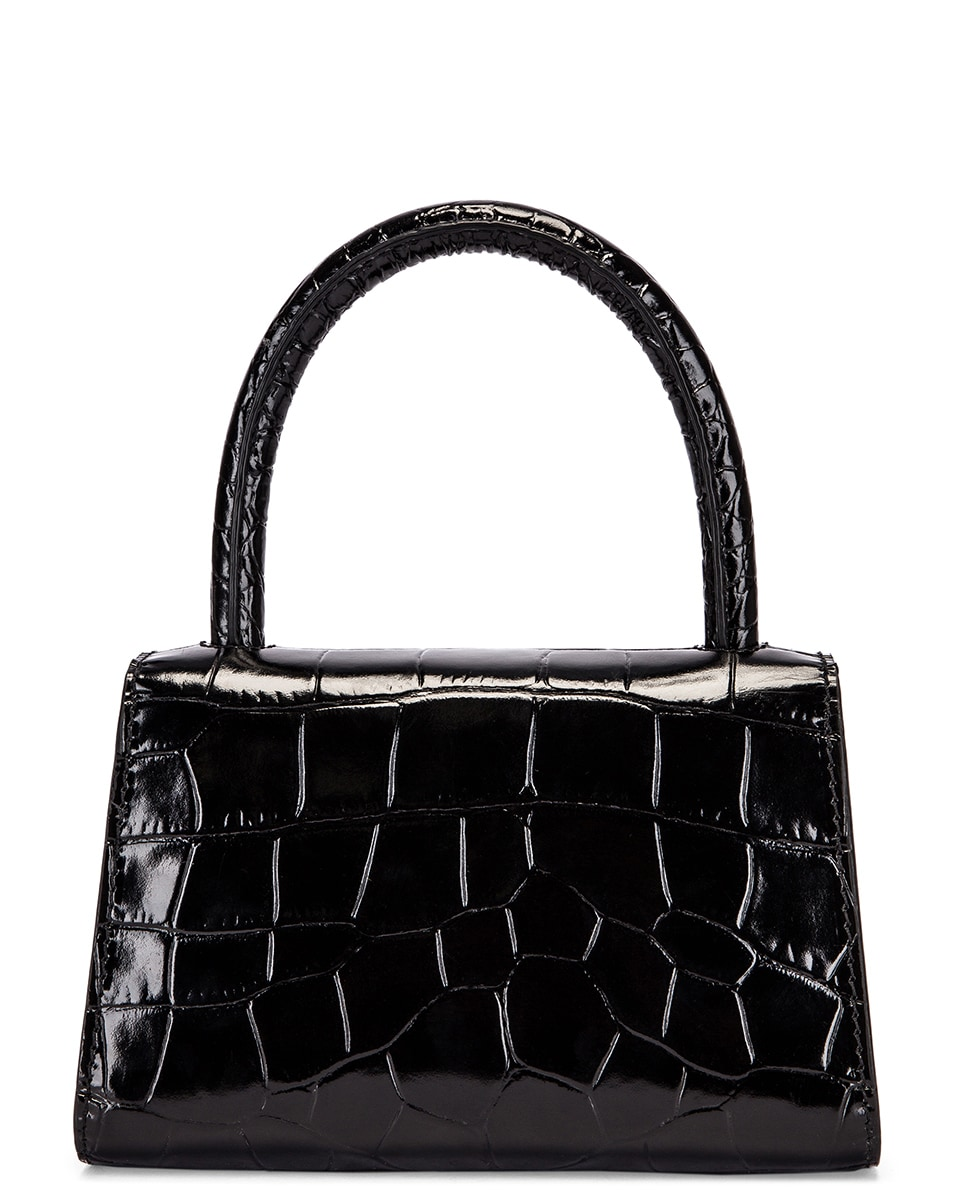 Image 3 of By Far Mini Croco Embossed Leather Bag in Black