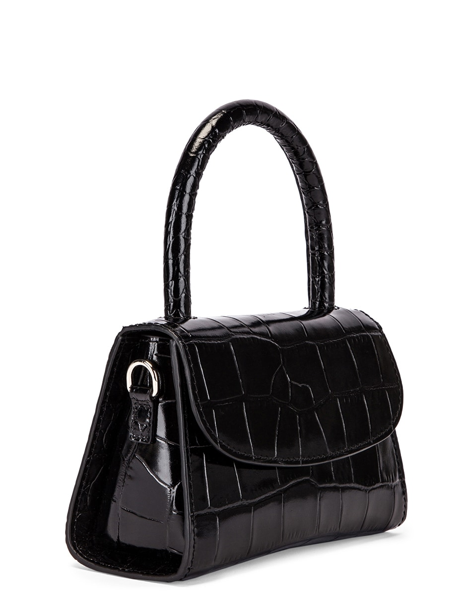 Image 4 of By Far Mini Croco Embossed Leather Bag in Black