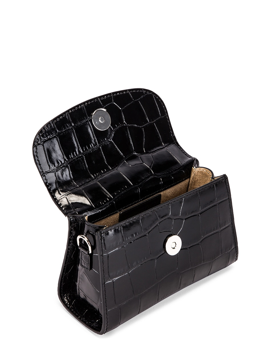Image 5 of By Far Mini Croco Embossed Leather Bag in Black