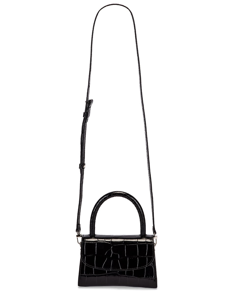 Image 6 of By Far Mini Croco Embossed Leather Bag in Black