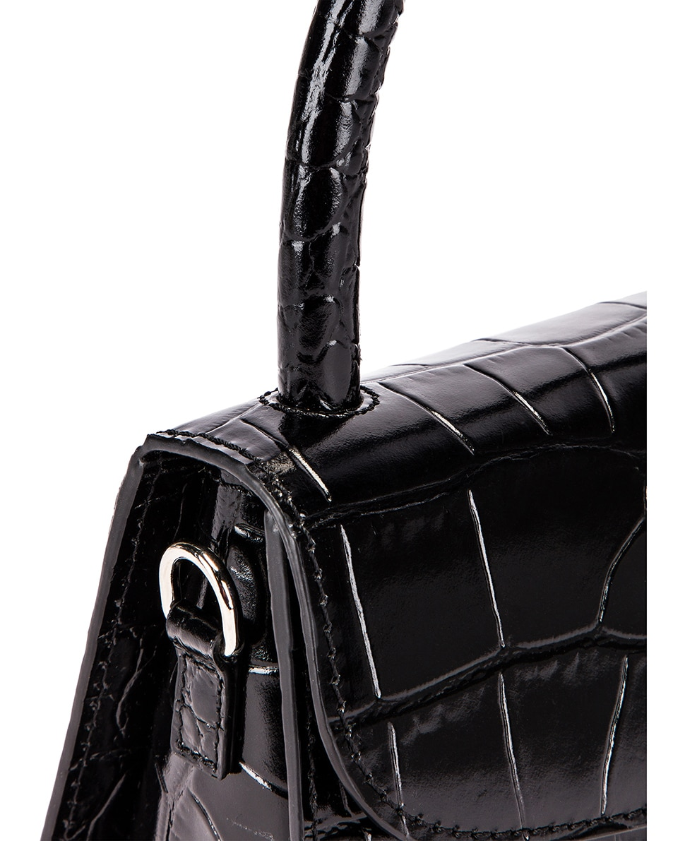 Image 8 of By Far Mini Croco Embossed Leather Bag in Black