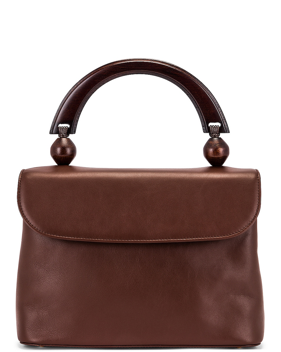 Image 1 of BY FAR Fiona Leather Top Handle Bag in Chocolate