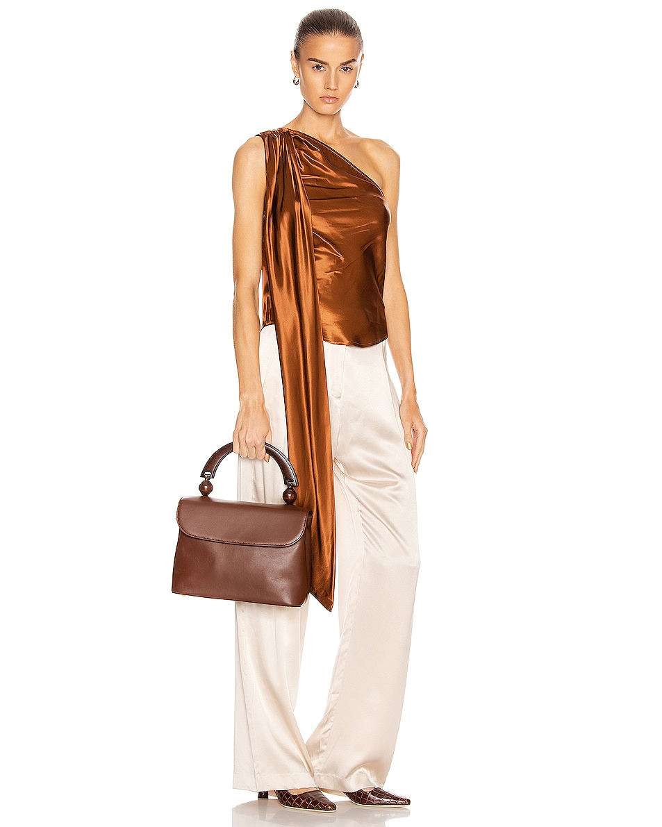 Image 2 of BY FAR Fiona Leather Top Handle Bag in Chocolate