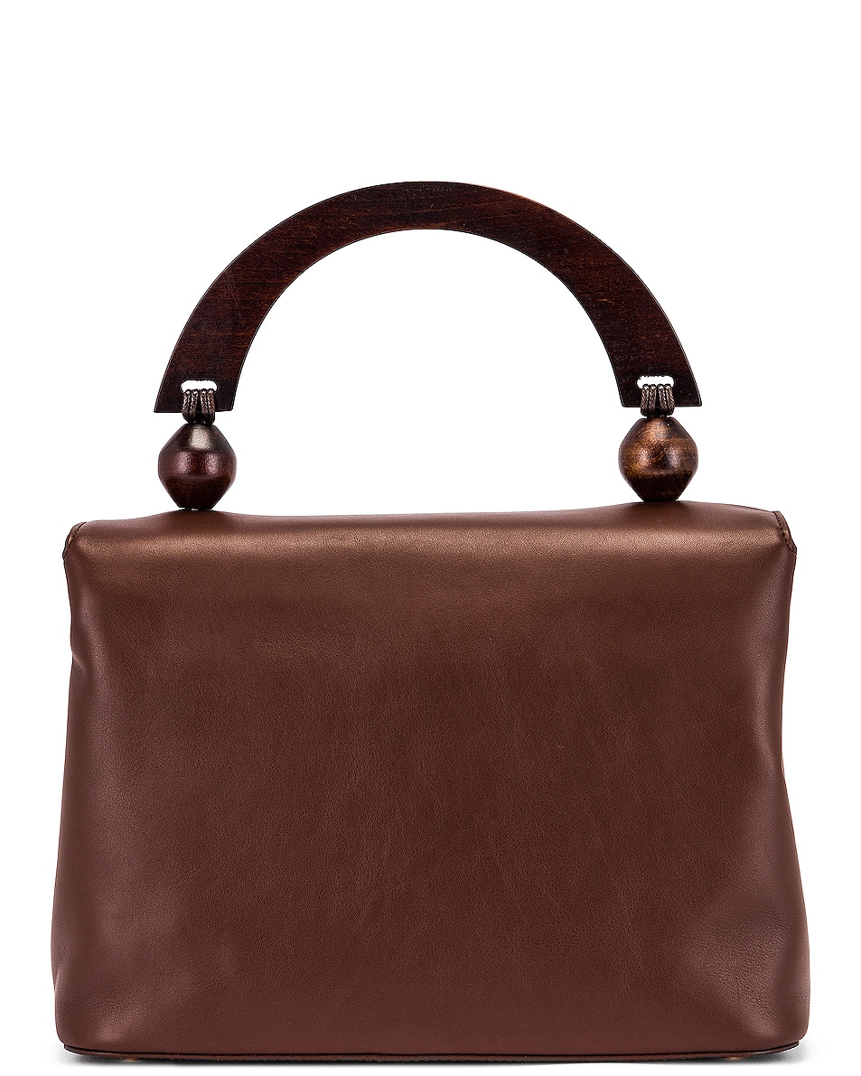 Image 3 of BY FAR Fiona Leather Top Handle Bag in Chocolate