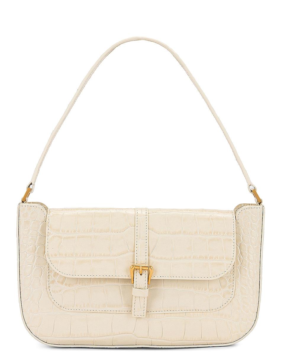 Image 1 of BY FAR Miranda Croco Embossed Leather Shoulder Bag in Cream