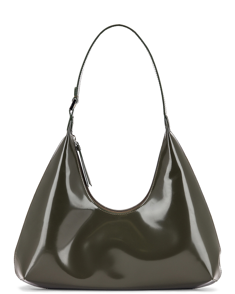 Image 1 of BY FAR Amber Semi Patent Leather Shoulder Bag in Dark Green