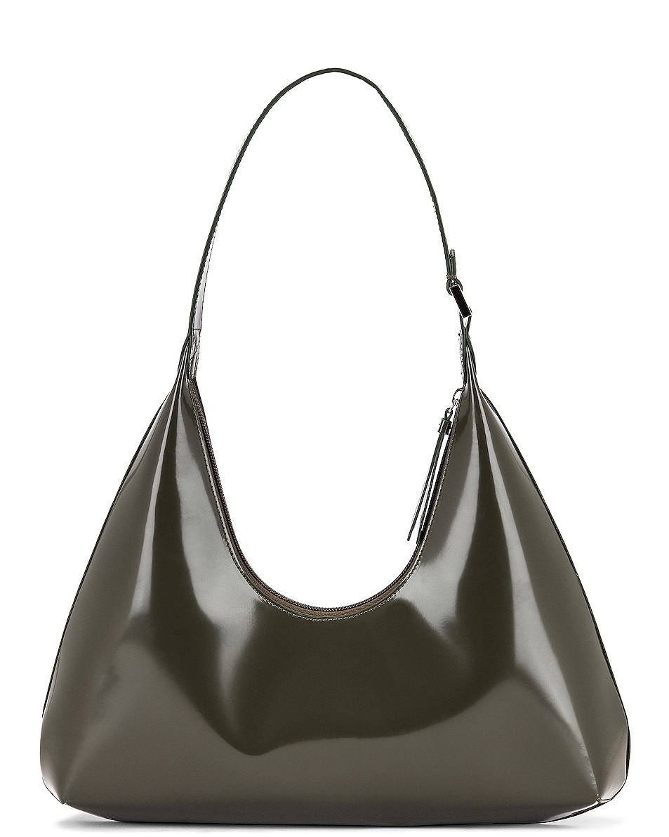 Image 3 of BY FAR Amber Semi Patent Leather Shoulder Bag in Dark Green
