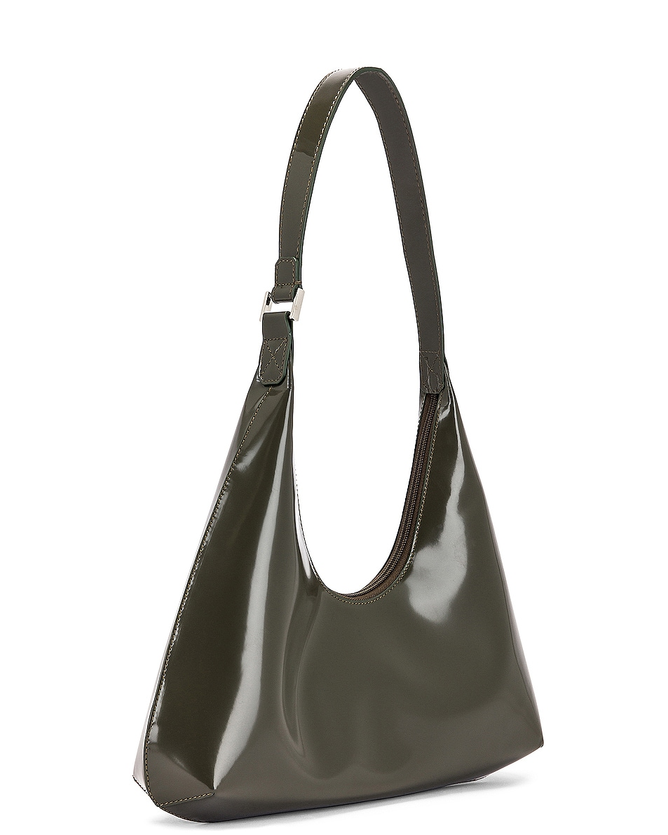 Image 4 of BY FAR Amber Semi Patent Leather Shoulder Bag in Dark Green