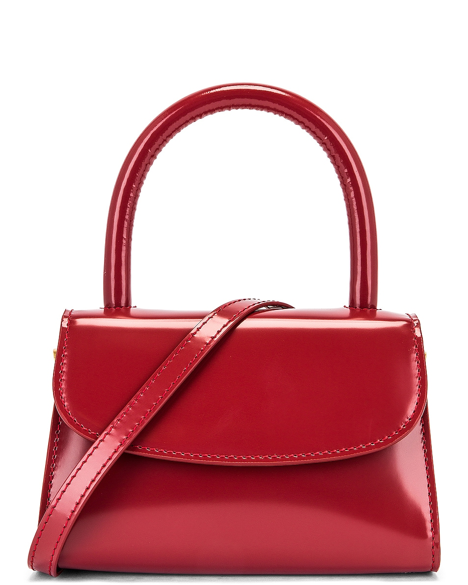 Image 1 of BY FAR Mini Semi Patent Leather Top Handle Bag in Red