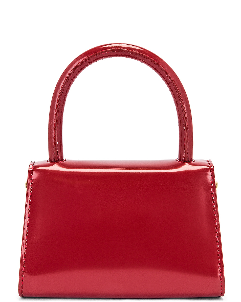 Image 3 of BY FAR Mini Semi Patent Leather Top Handle Bag in Red