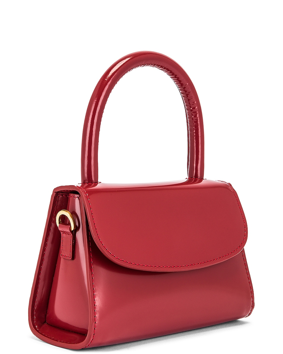 Image 4 of BY FAR Mini Semi Patent Leather Top Handle Bag in Red