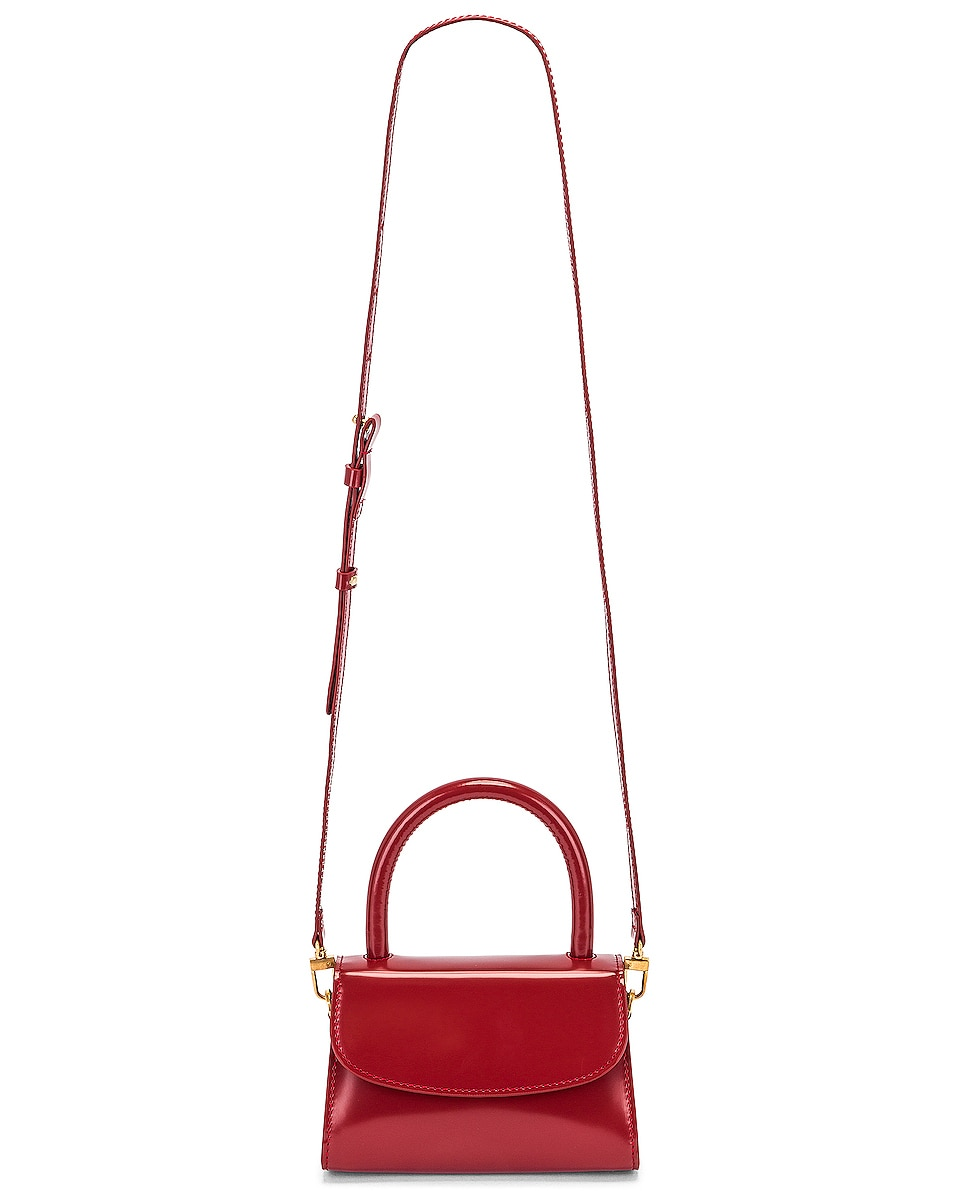 Image 6 of BY FAR Mini Semi Patent Leather Top Handle Bag in Red