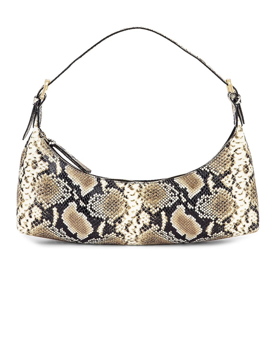 Image 1 of BY FAR Mara Snake Print Leather Bag in Natural