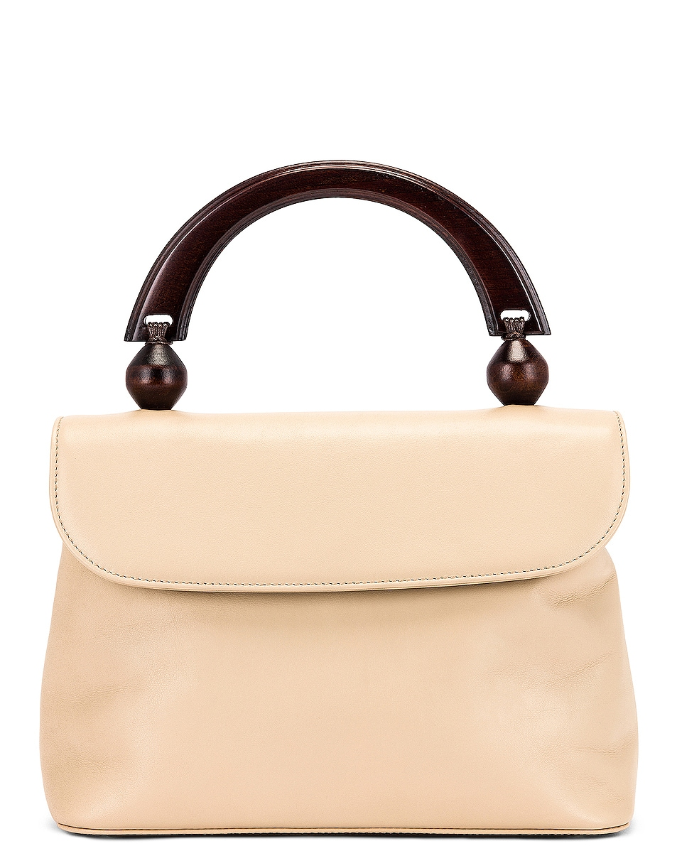 Image 1 of BY FAR Fiona Leather Top Handle Bag in Ivory