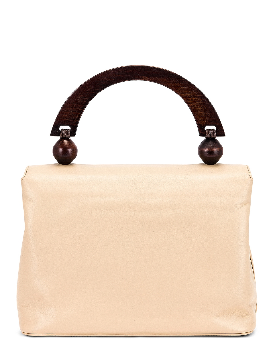 Image 3 of BY FAR Fiona Leather Top Handle Bag in Ivory