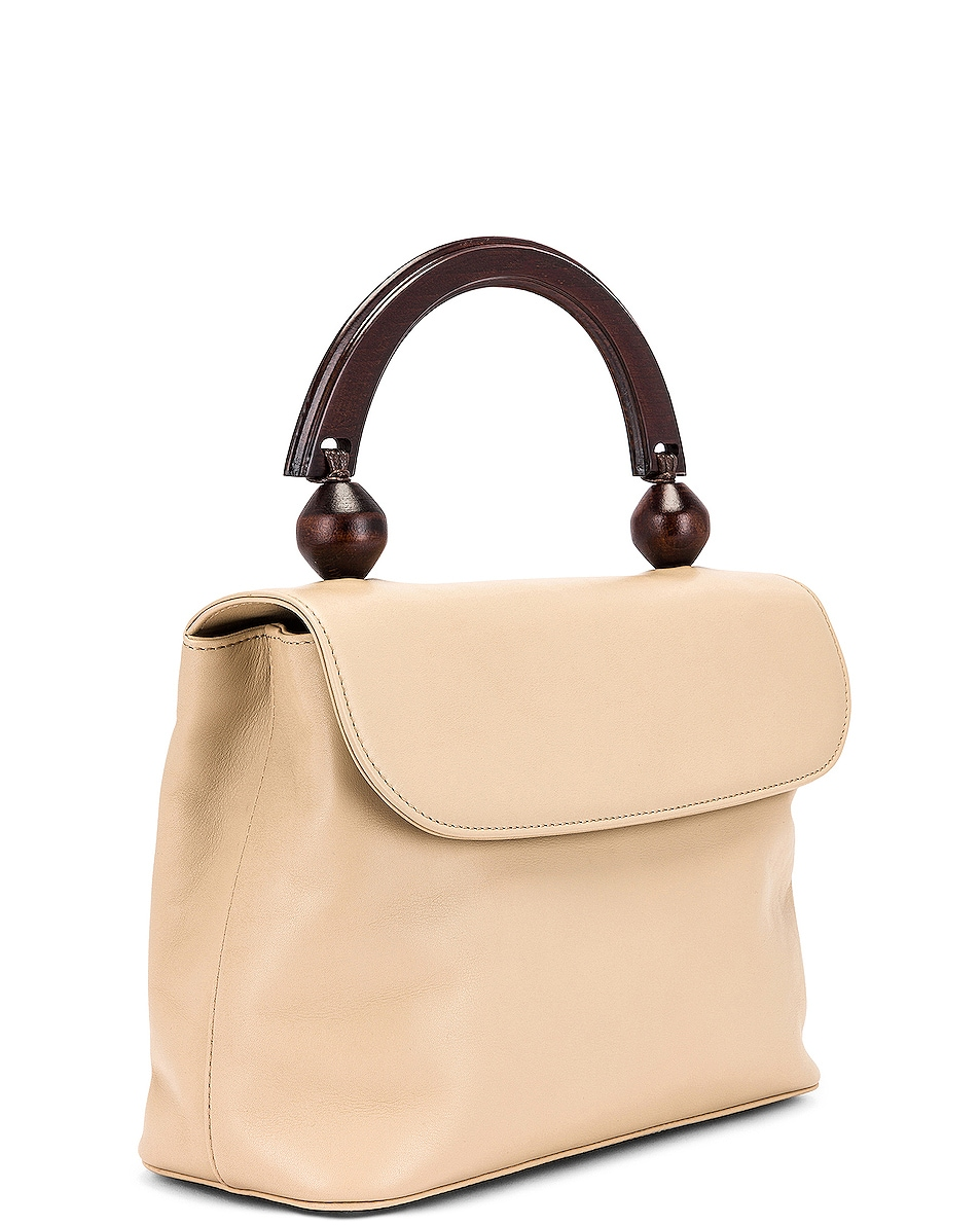 Image 4 of BY FAR Fiona Leather Top Handle Bag in Ivory