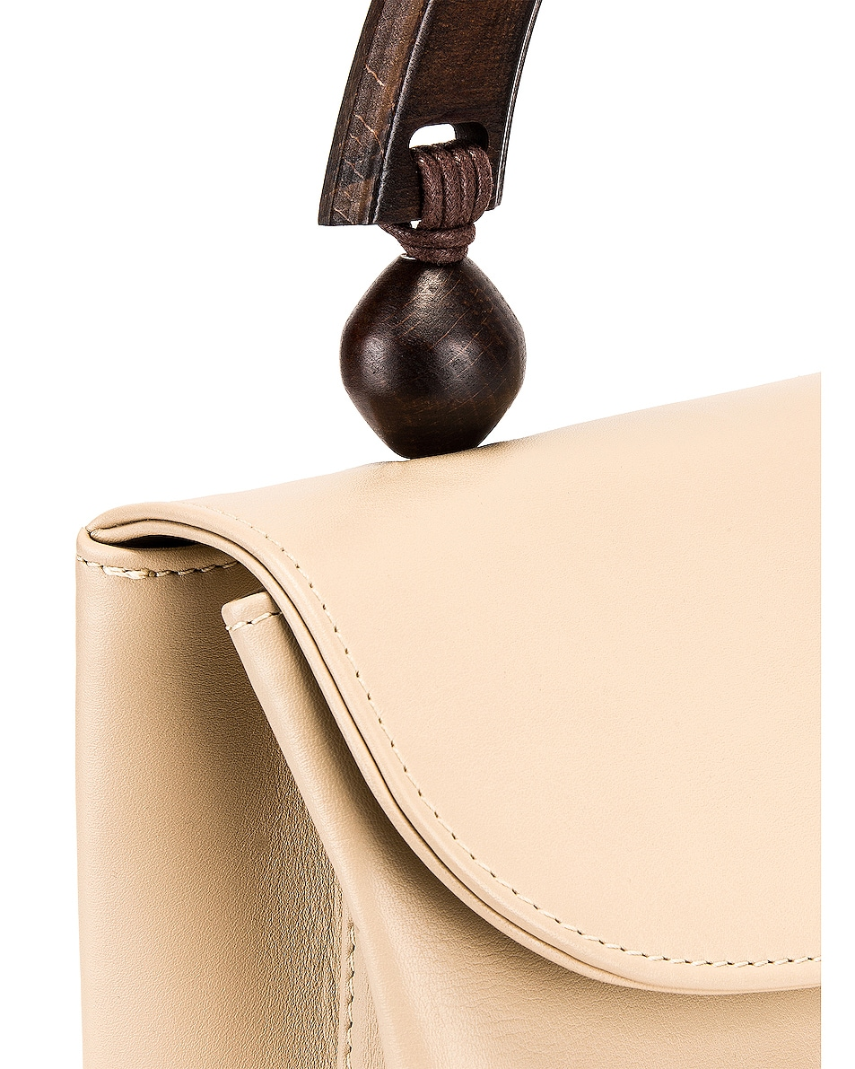 Image 8 of BY FAR Fiona Leather Top Handle Bag in Ivory