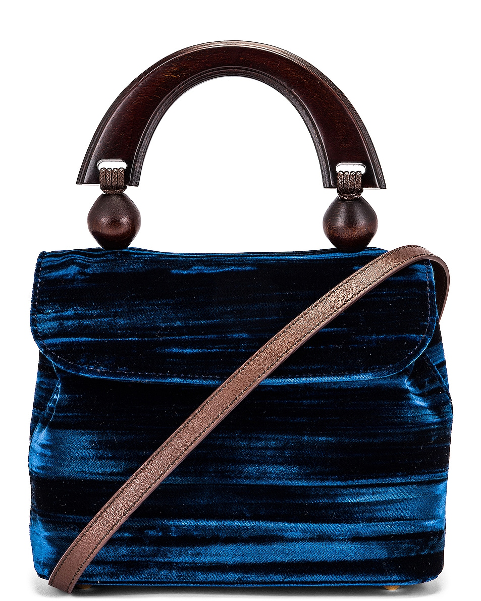 Image 1 of BY FAR Mini Fiona Crushed Velvet Top Handle Bag in Dark Blue