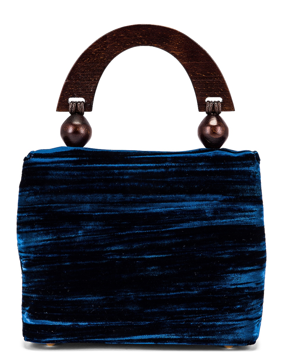 Image 2 of BY FAR Mini Fiona Crushed Velvet Top Handle Bag in Dark Blue