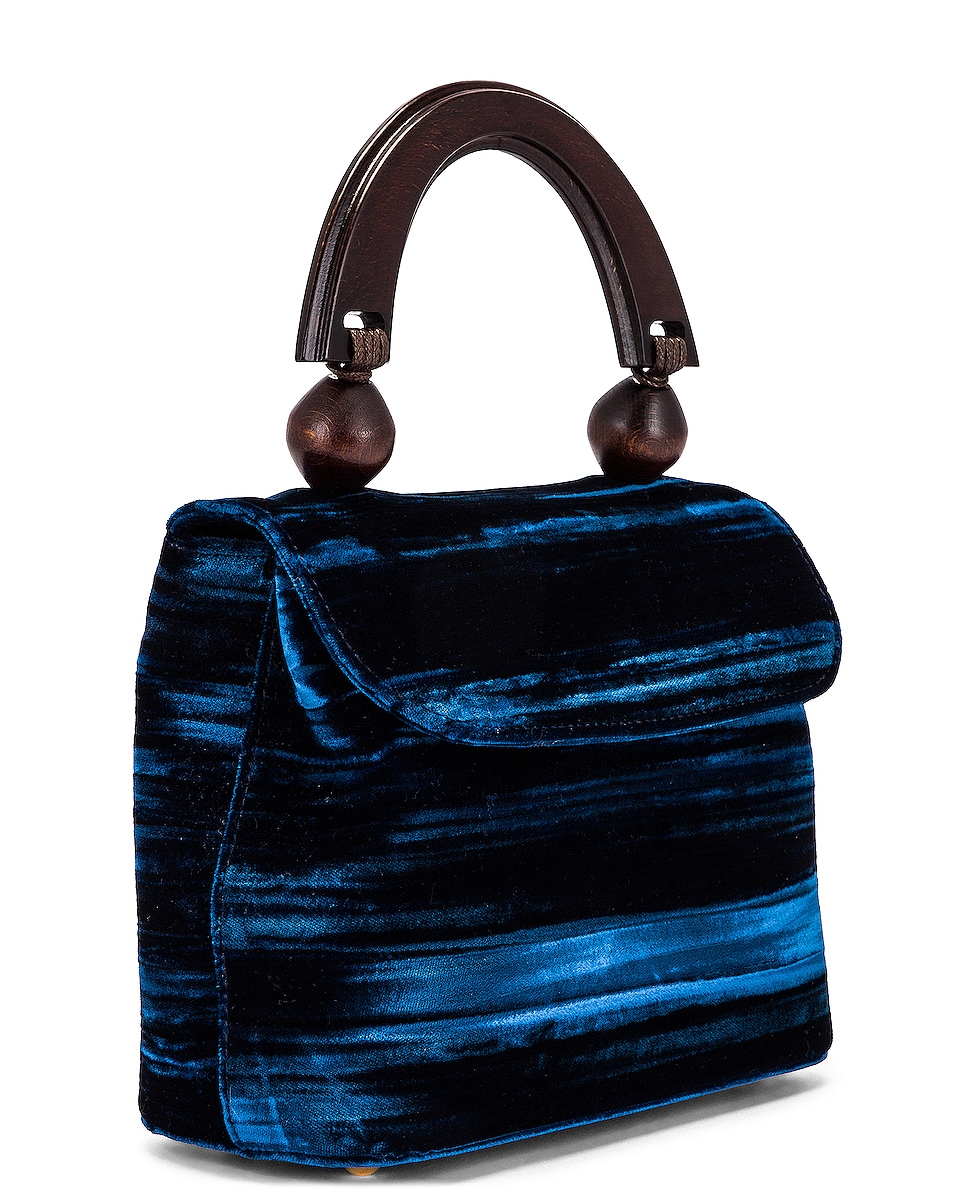 Image 3 of BY FAR Mini Fiona Crushed Velvet Top Handle Bag in Dark Blue