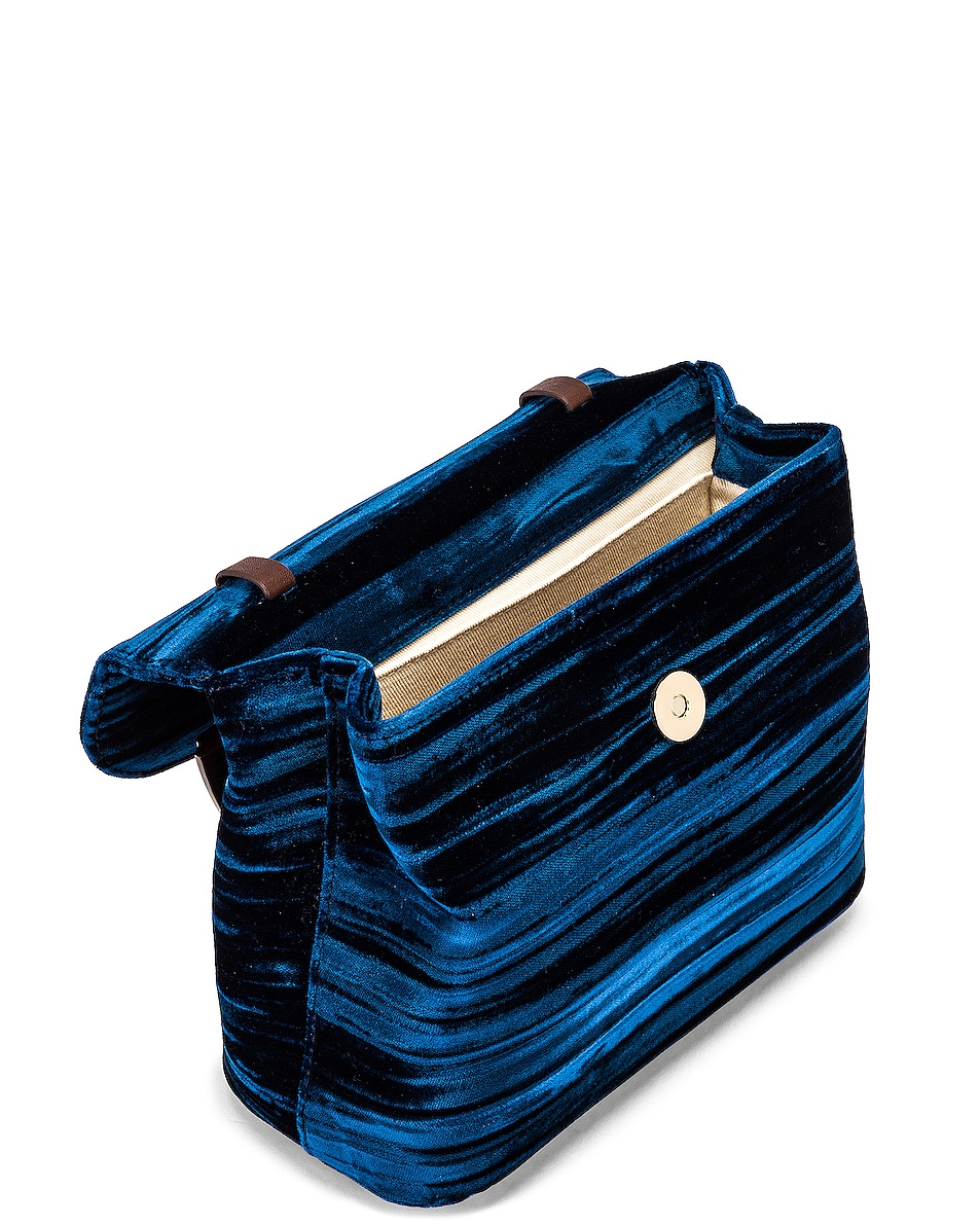 Image 4 of BY FAR Mini Fiona Crushed Velvet Top Handle Bag in Dark Blue