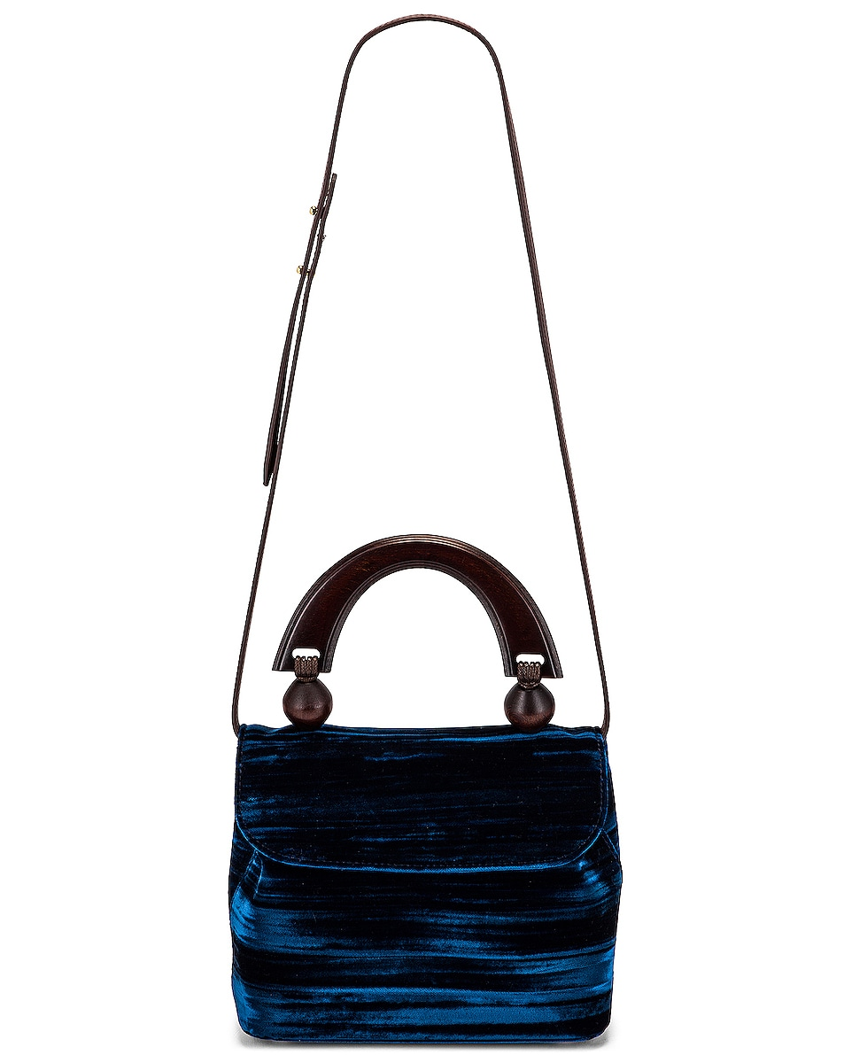 Image 5 of BY FAR Mini Fiona Crushed Velvet Top Handle Bag in Dark Blue