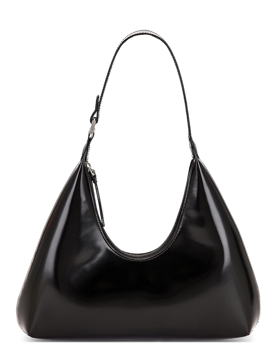 Image 1 of BY FAR Amber Semi Patent Leather Bag in Black
