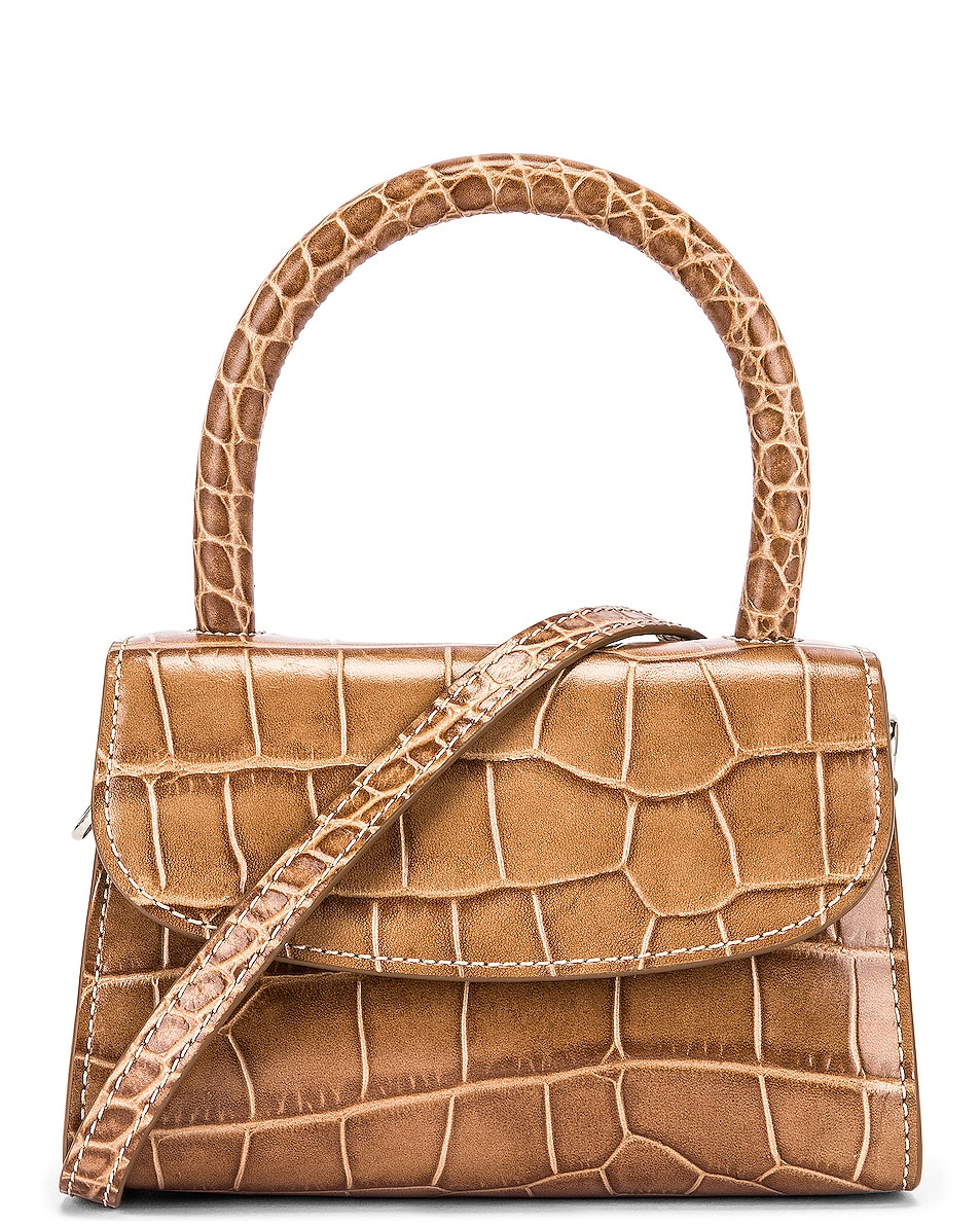 Image 1 of BY FAR Mini Croco Embossed Leather Bag in Taupe
